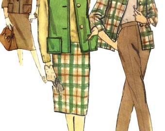 1960s Skirt Pattern Simplicity Vintage Jacket Pants Sewing Vest Uncut Women's Misses Size 42 Bust 44 Inches