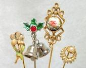 Vintage 80s Stick Pin Lot - Christmas Floral Enamel Pearl