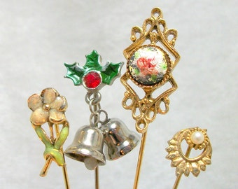 Vintage 80s Stick Pin Lot - Christmas Floral Enamel Pearl