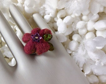 Felted Flower Ring