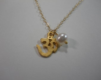 Gold Filled OM Symbol Necklace with Fresh Water Pearl Charm Dainty Chain AUM Yoga Jewelry
