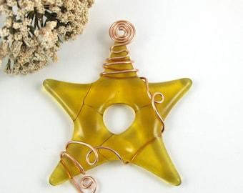 Fused Glass Star Suncatcher - Golden Amber Star Ornament - Wire Wrapped Suncatcher