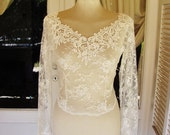 V neckline KISS Me In BARILOCHE white bridal lace top long sleeves wedding lace bolero