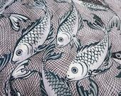 Giant B&W Carp Fish - Hand Printed fabric - Half Yard
