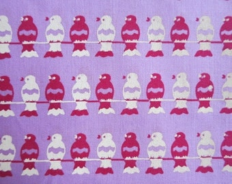 Red White & Lilac Birds On a Wire - hand printed cotton fabric - Half yard