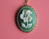 Vintage Green Flower Cameo Necklace
