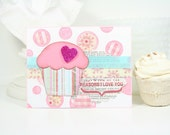 Hand Stamped Card Cupcake I Love You Handmade Greeting Card