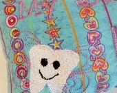 Blue and Purple Stars and Hearts Tooth Fairy Pillow