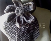 Vintage Inspired Ascot Necktie - Lotus Flower Design  In Charcoal Grey WIDER NECK DESIGN