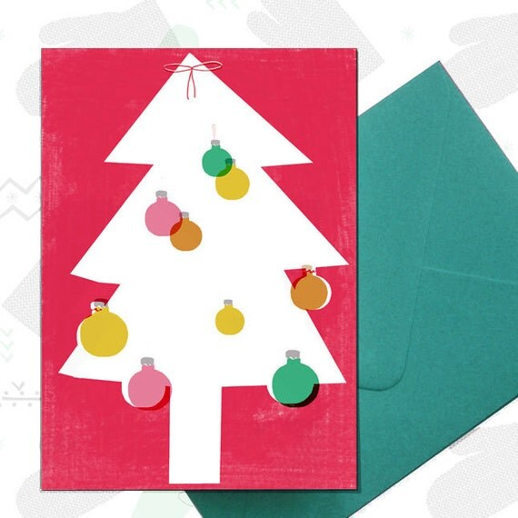 Bauble Tree Christmas/holiday cards 4 pack - FREE SHIPPING for 3 or more packs