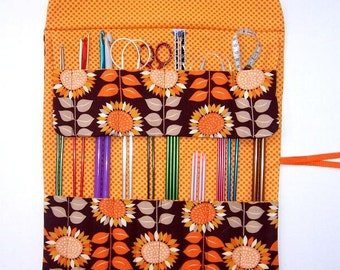 Sunflower Print Knitting Needle Holder, DPN Roll, Double Pointed Needle Storage, Crochet Hook Case, Makeup or Artist Brushes Organizer