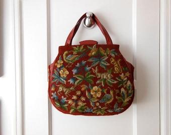 40s bag / Living the Wild Life Vintage 1940's Alice Maynard Needlepoint Bag Purse