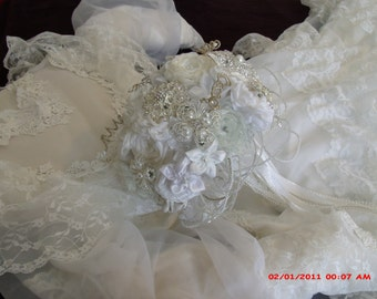 White on White Satin and Organza Brooch Bouquet