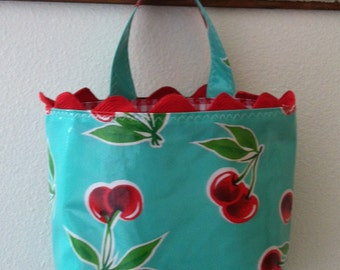 Beth's Aqua Cherry Oilcloth Car Trash Bag with Red Rick Rack