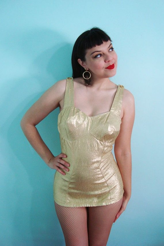 1950s Golden Goddess Swimsuit Chic Gold Lame Stretch Metal