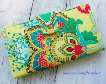 Handmade Long Wallet  BiFold Clutch - Artisan Emerald large flower vegan wallet