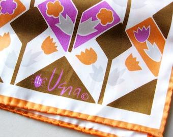 Vintage VERA Scarf - Abstract Floral Pattern - Hand Rolled Hem - Ladybug Logo - Orange Oblong Scarf