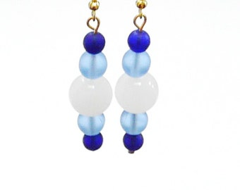 Blue Earrings with Snow white Gold Dangle Earrings Sky Blue and Royal Blue with Large White Glass Beads Retro style - Unique Earrings OOAK