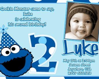 Cookie Monster Birthday Invitations, Cookie Monster 2nd Birthday, DIY Digital Printable File