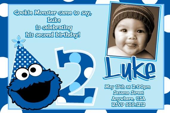 cookie monster birthday invitations cookie monster 2nd, Birthday invitations
