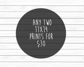 Set of 2 Posters for 30 - Children's Art, Nursery Art, Art Poster, 11x14 Prints