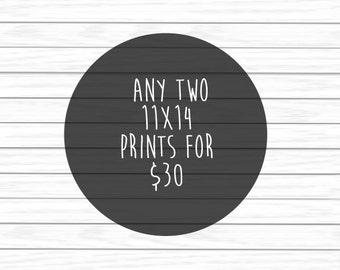 Set of 2 Posters for 30 - Children's Art, Nursery Art, Art Poster, 11x14 Prints