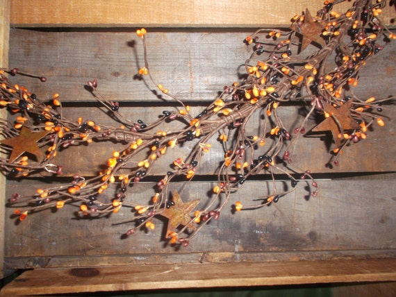 40 quot primitive country mix pip berry garland w rusty tin stars