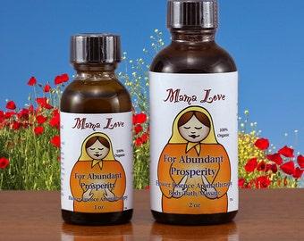 Abundant Prosperity, Easing Money Stress, Reiki-Infused Organic Flower Essence Aromatherapy for Body, Bath, Massage