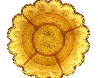 1950s Glass Appetizer Divided Tray, Pressed Glass, Golden Yellow, Autumn Leaves Color, Vintage Serving Tray, Retro Chip and Dip