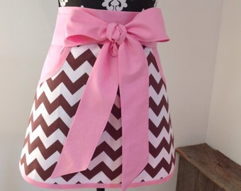 Brown and White Chevron trimmed with Pink Pockets and Ties Adult Half Apron
