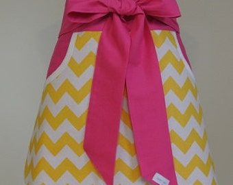Yellow and White Chevron trimmed in Hot Pink Gray Adult Half Apron with Pockets