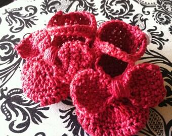 Red Crochet Baby Booties~~~ Newborn Size~~~