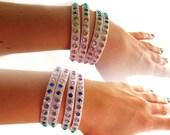 Glitter Aurora Borealis Rhinestone Cuff Bracelet, Rainbow Rhinestone Cuff Bracelet, Sparkling Jeweled Cuff Bracelent