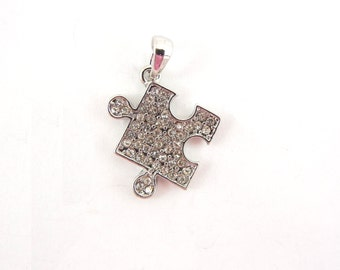 Puzzle Piece Pendant Autism Symbol Silver-tone