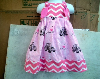 I Love JOHN DEER pink knot dress