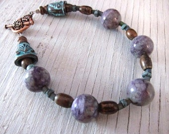 Earthy Purple Bracelet / Natural Charoite Power Stone from Russia