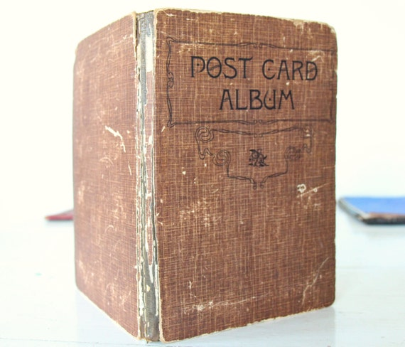 Vintage Book Cover Postcards : Antique s postcard album book blank by