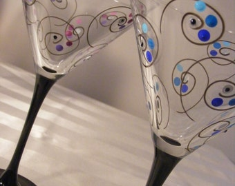 hand painted martini glasses with black stems, swirls and polka dots - can order in any colors