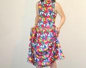 Vintage EAGLE EYE Dress • 1990s Clothing •Crazy Print Fruit Cotton Jersey Floral Sleeveless Mock Turtleneck Midi Calf Length •Medium Large