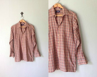 Vintage ARROW Shirt • 1980s Mens Clothing • Plaid Checkered Long Sleeve Button Up Dress Shirt Soft Tan Red Cotton Poly Arrow • Guys Medium