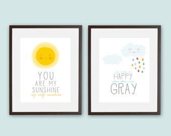 You Are My Sunshine • You Make Me Happy When Skies Are Gray  • Set of 2 • 11x14 Printable • Instant Download