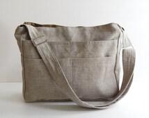 Sale - Natural Color Linen Tote, purse, shoulder bag, ruffles, crossbody, messenger, everyday bag - MELANIE