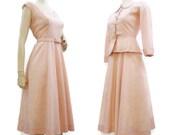 Vintage 50s Dress Suit Pink Lace Dress and Peplum Jacket Bridal Wedding S M