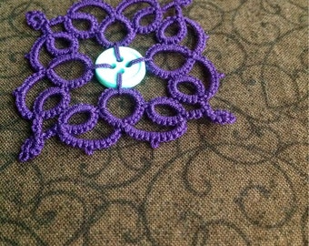 Purple Needle Tatted Pendant with Button