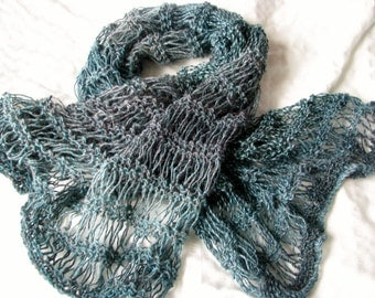 Teal Green Hand Knit Wool Mix Shawl