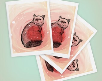 Trippy Cat Blank Greeting Card, Exotic Shorthair, Pink - Size A2 - SET OF FOUR
