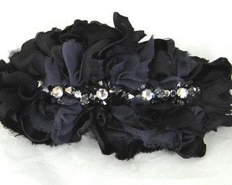Gothic Edwardian Black Silk Headpiece with Swarovski Brooch, Black, Dark Grey ,Swarovski Rhinestone and Crystals -ETHEL