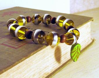 Stretch Bracelet, Lemon Green, Stackable Bracelet, Wooden Beads, Yellow Green, Handmade
