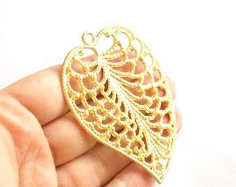 1 pc-Matte Gold Plated  Huge  Leaf Pendant -75x55mm-(011-005GP)