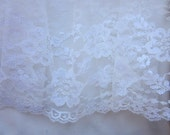 12.5 inch Wide Off White French Tulle Net Lace Trim Christening Bridal Veil Antique Doll Clothing #5